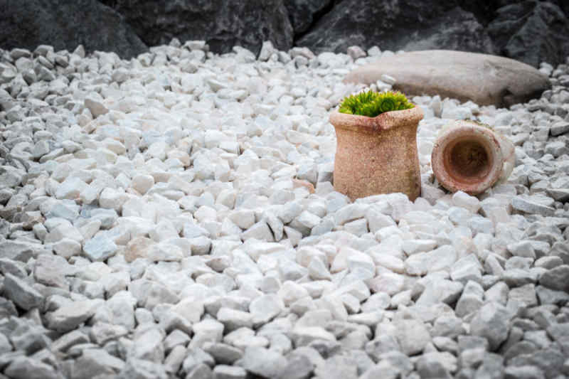 Artistic use of white landscaping gravel displayed in a garden