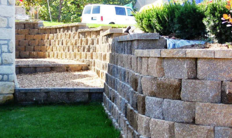 Keystone retaining wall blocks add color to landscape designs.