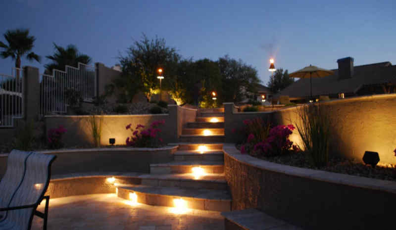 Outdoor step lighting lights up the area for safety.