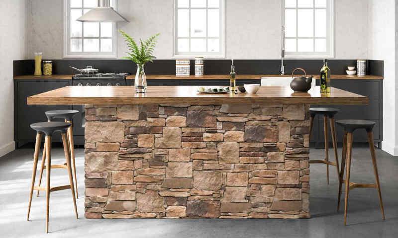 Thin stone veneer makes this kitchen island amazing.