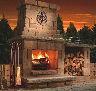 Colonial outdoor fireplace southwest stone supply for Fireplaces southwest