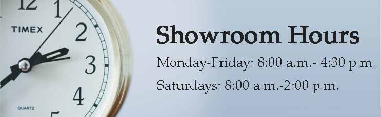 Showroom store hours - Landscaping Stone Supply - Open Monday through Friday 8 AM to 4:30 PM, Saturdays 8 AM to 2 PM