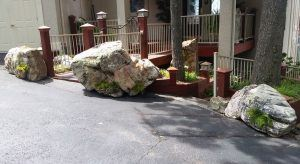 Decorative landscaping boulder