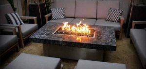 Outdoor fire table with nice flames