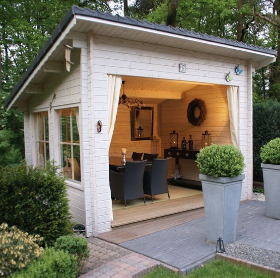 Quaint little backyard building with 3 sides, open to the patio area.