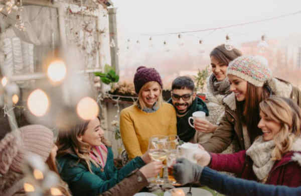 Group of people enjoying a patio together during the winter!