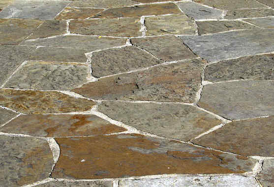 Patio made from natural flagstone pavers at a home near Columbia, Missouri.
