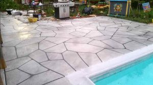 Flagstone patio and pool