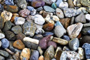 Colorful decorative landscape gravel of various sizes and colors