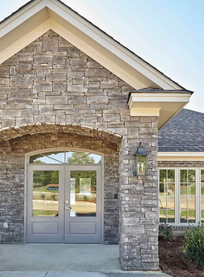 Attractive stone veneer entryway on a modern home