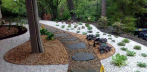 A backyard landscape with decorative rock in Columbia, Missouri