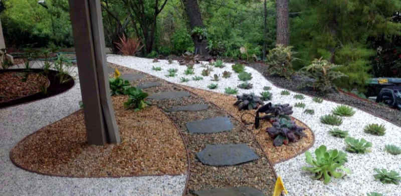 A backyard landscape with decorative rock in Columbia, Missouri