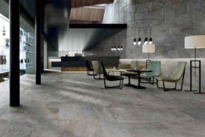 Natural stone flooring tiles in a recreational living space