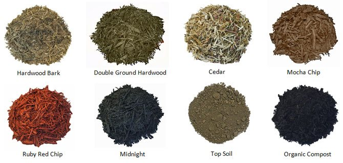 Assorted bulk mulch for sale at Southwest Stone Supply in Osage Beach, MO