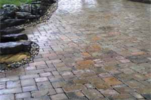 Nice multicolored pavers and paving stones in a driveway