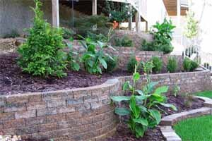 Retaining wall built with natural stone block
