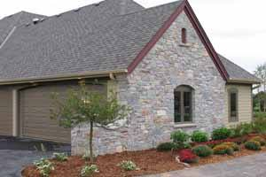 Natural stone veneer siding on a house at Lake of the Ozarks